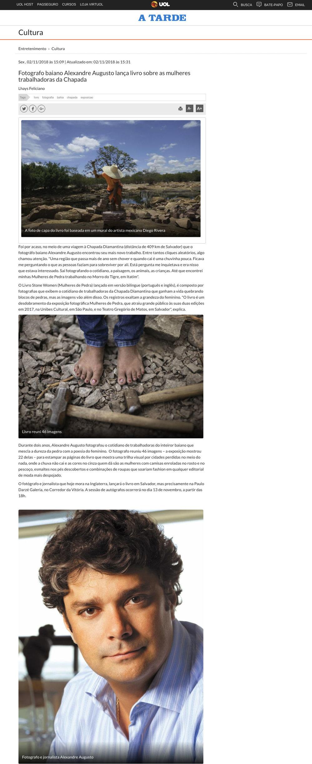 Jornal A Tarde  Salvador – 2/11/2018