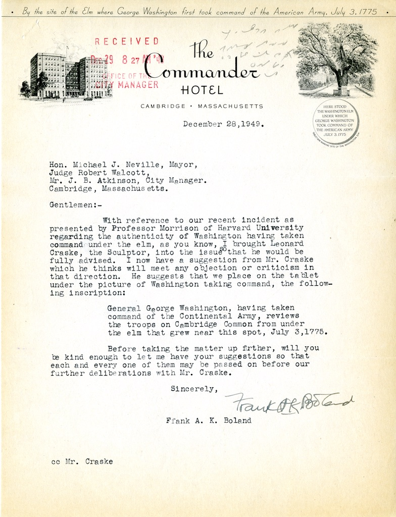 1949 letter to Mayor Michael J. Neville from Frank A.K. Boland,