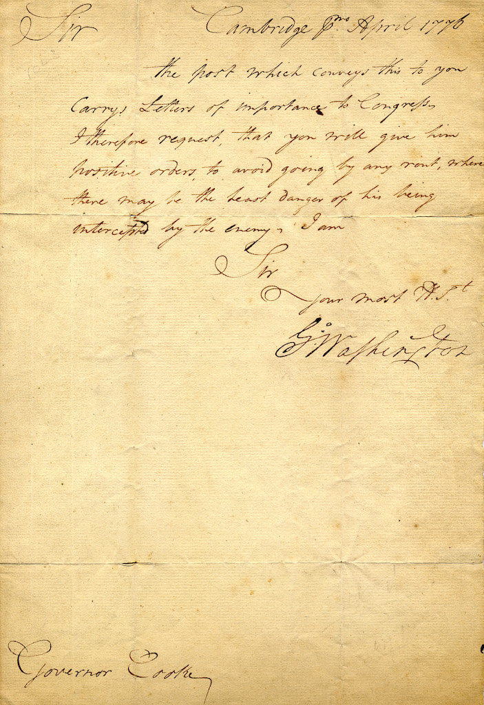 Correspondence from George Washington to Nicholas Cooke, Governor of Rhode Island