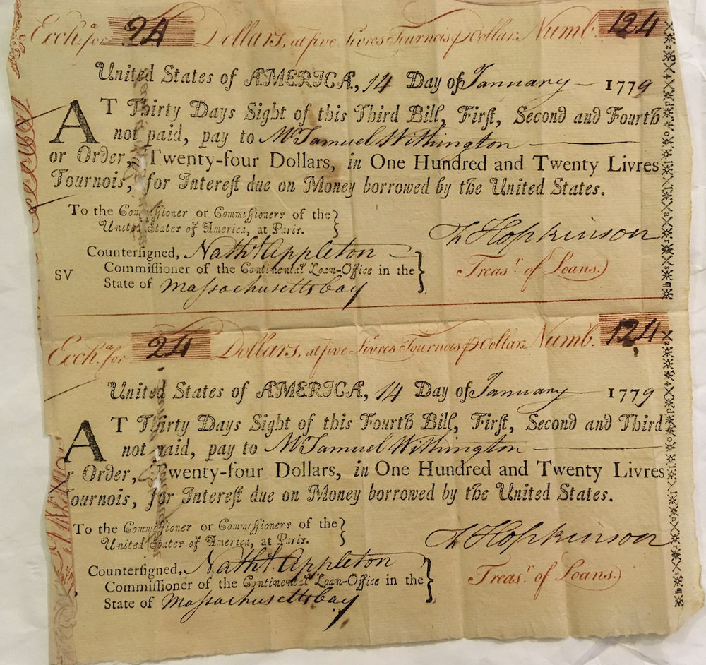 Payment from Nathaniel Appleton to W. Samuel Withington, dated 1779.