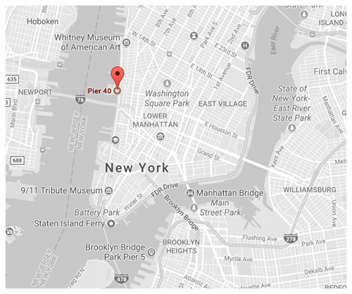 Click for Directions via Google Maps // Pier 40, Indoors, 2nd Floor - Hudson River Park.