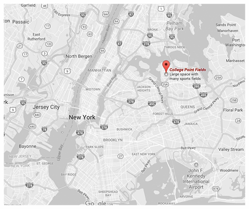 Click for Directions via Google Maps // College Point Fields, Queens.