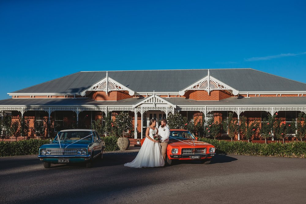 bride and groom at olive house
