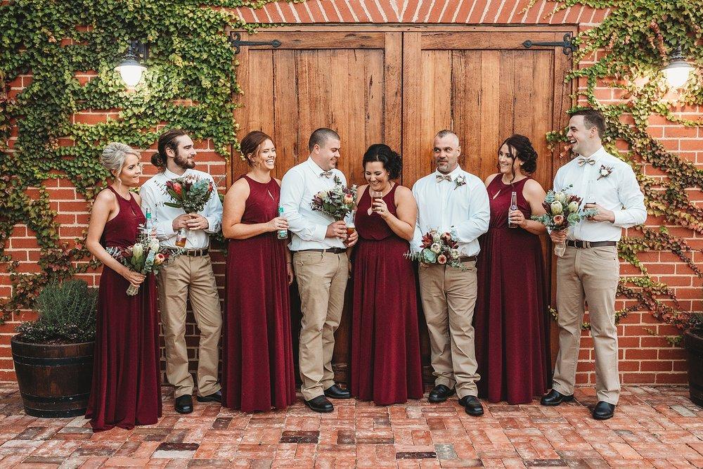 bridal party at olive houses barn