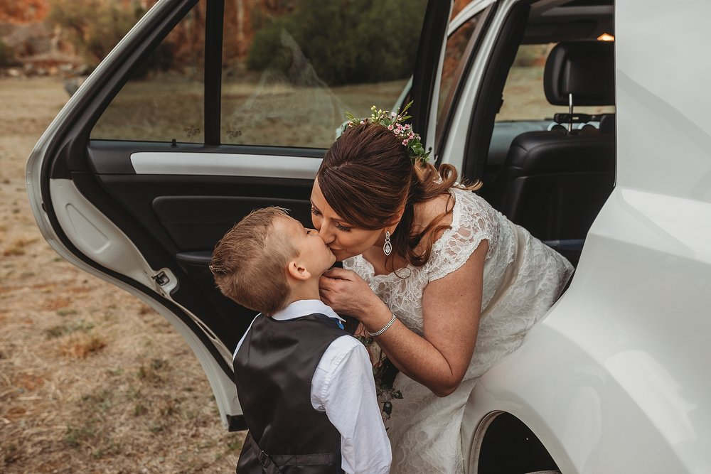 bride kissing son at dookie quarry