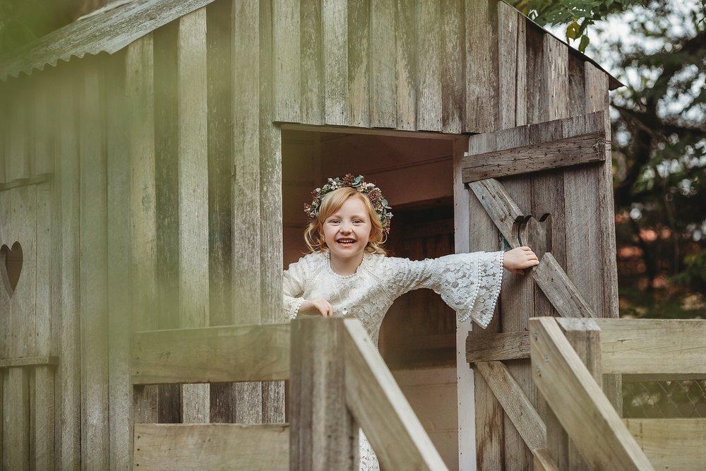 flower girl in cubby house