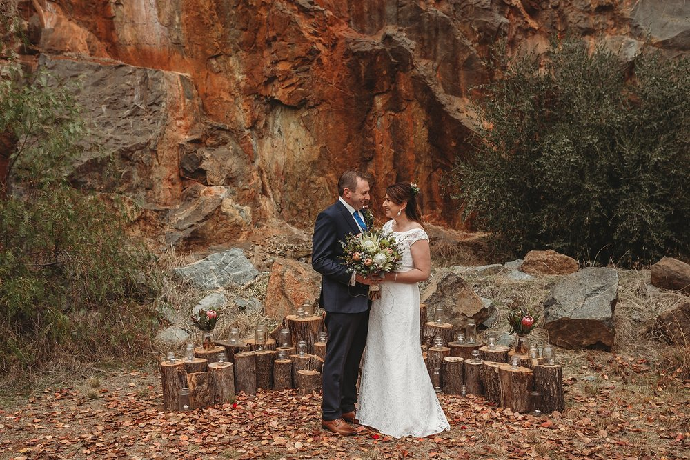 bride and groom at dookie quarry