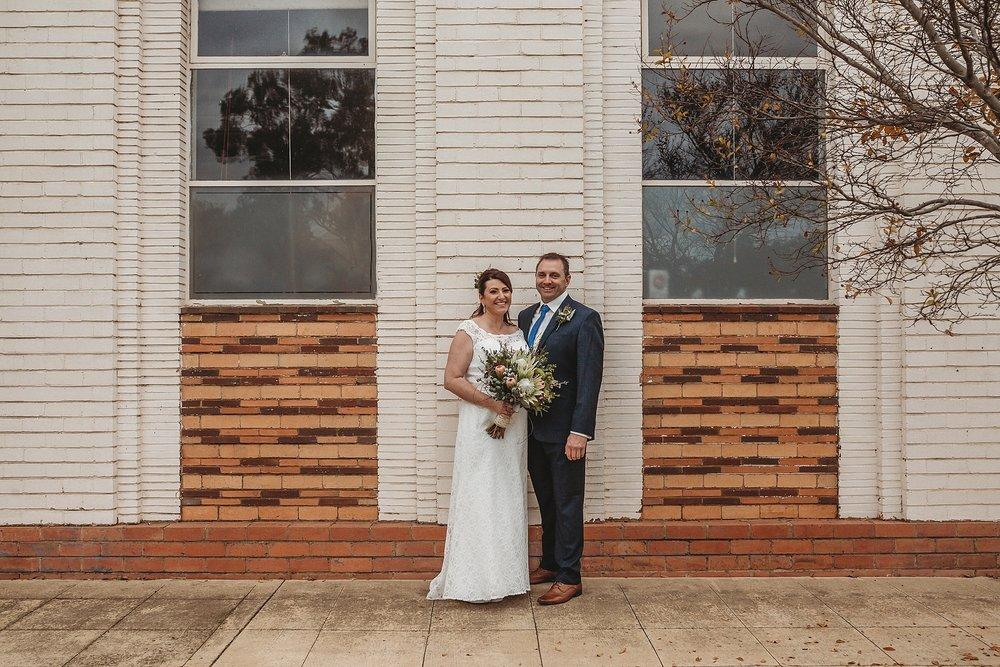 bride and groom at dookie bendigo bank