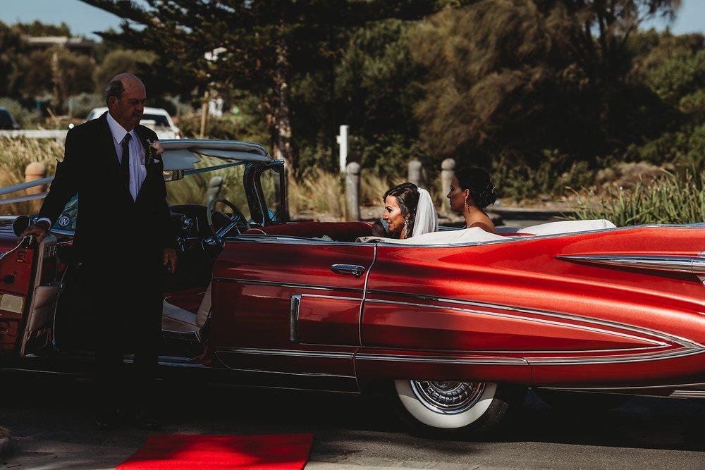 bride arriving at brighton pier