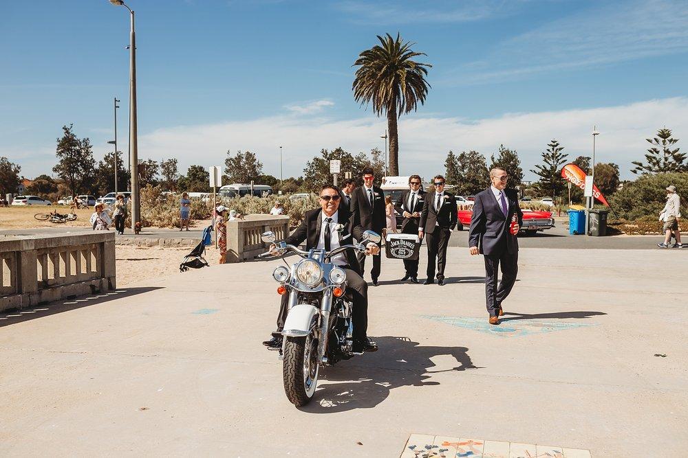 groom arriving brighton pier