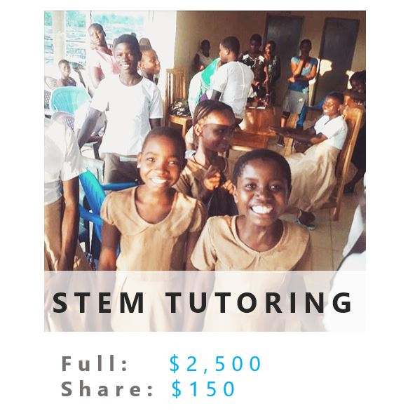 For added support of girls in STEM education, we are starting a tutoring program that will give each girl one-on-one assistance with her STEM curriculum; something she's never had before.