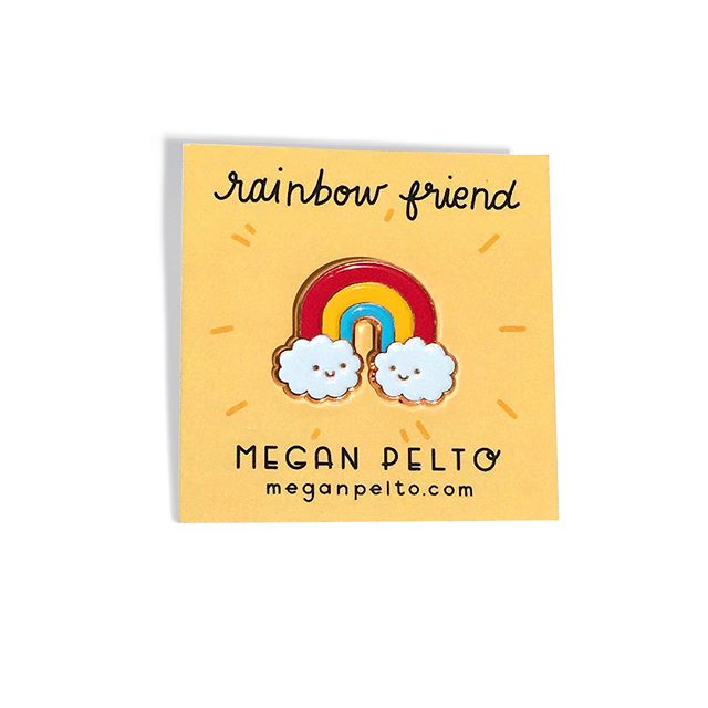 🌈☀️It's @meganpelto 😊I have some brand new rainbow and sun friends to brighten your day and your outfit 😊 Both come in black nickel & copper, with an illustrated backing, and can be found at the link in my bio @meganpelto ⛅️You will also find them at a few shops around Chicago! Produced by the awesome @nightowlsprint