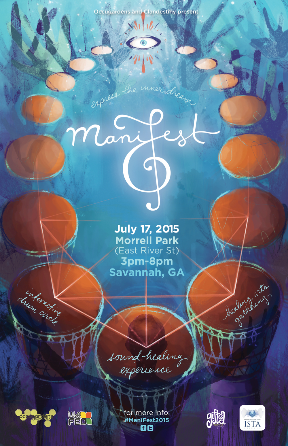 Final ManiFest poster - logo and illustration by Whitney Williams, hand-lettering and creative direction by Leslie Walsh