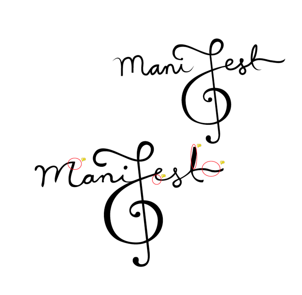 ManiFest logo sketches v2. By Whitney Williams, with creative direction by Leslie Walsh