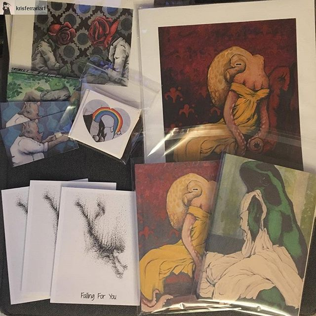 Catch @krisferrariart TOMMORROW 🔥🔥 @southernheightsbrewing (Southern Heights Brewing Co) in Austin. -Shirts, non-romantic valentine cards, prints of his animal paintings, and more!  Eat! 🌯🍕🥙 Drink! 🍻 And engage in sardonic banter! . #atxartist #krisferrari #sale #austinart #originalartforsale
