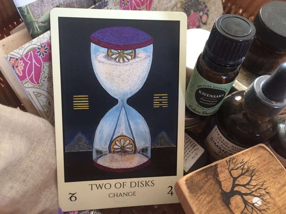 Two of Disks from M.M. Meleen's Tabula Mundi Tarot • Deck 543 LE