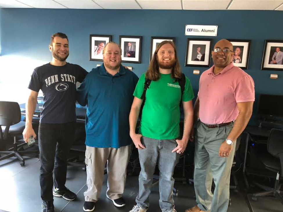Above are Penn State Brandywine IT department employees Justin DiMatteo, C.J. Journey and Scott Schmoyer alongside CEF Program Director Gerald Rocha.
