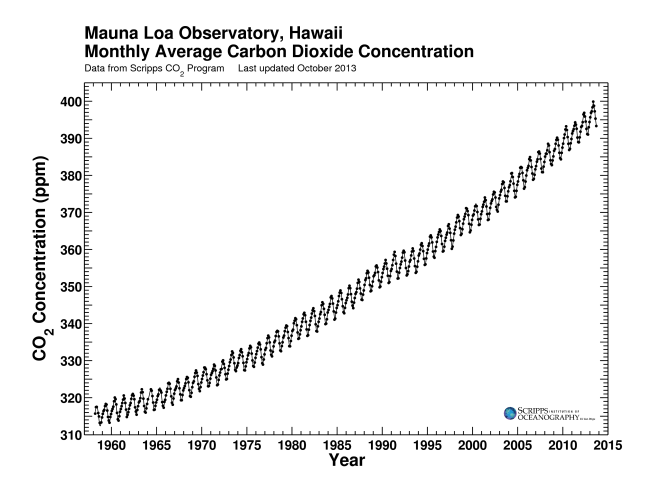 Carbon dioxide concentrations in the atmosphere are rising at an increasing rate.