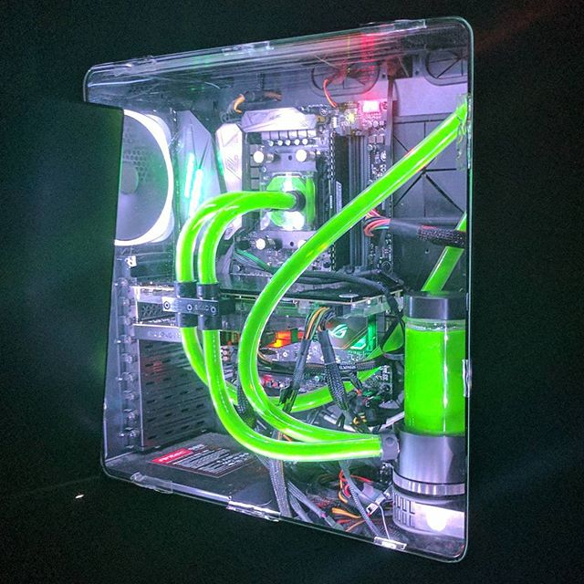 Night shot of the finished product, taken on my Google Pixel. #computers #ryzen #watercooling #rbg #nzxt #asus #technology #nvidia #ekwb #nofilter