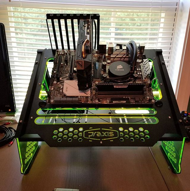 Test bench assembled! Need to route a power supply and load Windows, but this #Praxis #Wetbench is going to be a dream for hardware testing! #pc #testing #testbench #primochill #ryzen #asus #nvidia #gtx1060 #gigabyte