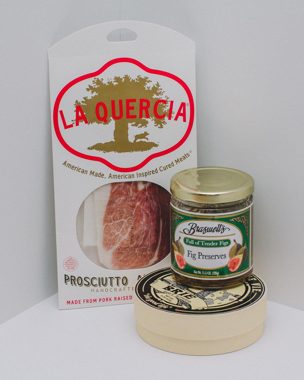 Ingredients - Prosciutto (sliced)Brie CheeseFig PreservesA good crusty bread (sliced)