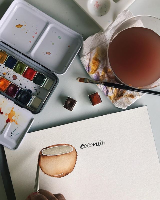 "WORK IN PROGRESS _ I'm currently in the midst of completing the Life Reflection Calendar 2019 (pls pray for me!). _ I'm including some of the things that I'm inspired. One of it is coconut! Inspired by my little Nephew singing the coconut song. Oh you gotta see how he sings. 🥥 🌴 _ Brushes: Ashley size 7 & @rosemarybrushes comber brush size ¼"" Paint: @prima_watercolor Tropical and Woodlands _ #watercolour #watercolor #coconut #vegan #smoothie #art #paint #brush #fruits #tropical #flatlay #singapore #artsg #watercoloursg"
