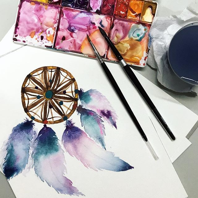 My first attempt at painting a dream catcher. Still need to work on the feathers. 😂  _ Brushes: @silverbrushlimited & @rosemarybrushes  Paint: @winsorandnewton  Paper: @winsorandnewton  _ #dreamcatcher #watercolour #watercolour #singapore #feathers #feather #galaxy