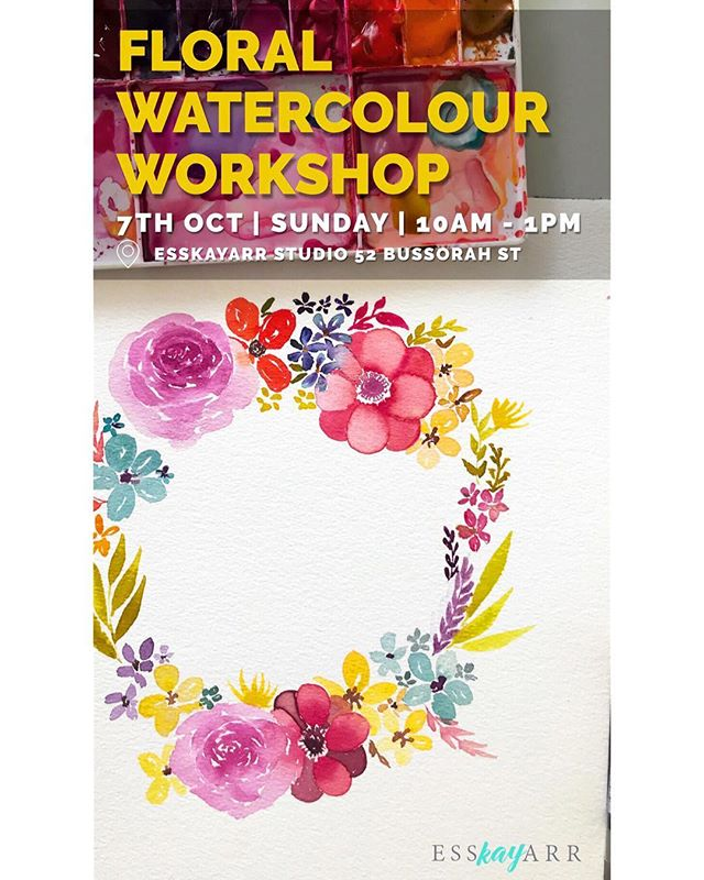 FLORAL WATERCOLOUR WORKSHOP _ Suitable for Beginners _ Join me as I help to breakdown the steps in painting roses and other flowers like Five Petal flowers and variety of leaves in the upcoming Floral Watercolour Workshop. _ Suitable for Beginners. _ Details: • Date: 7th Oct, Sunday • Time: 10am - 1pm • Fee: $140 per participant (Inclusive of Watercolour Paint from Winsor Newton, Brush, High Quality Watercolour Paper and Esskayarr Paint Handbook) • Venue: Esskayarr Studio, 52 Bussorah St _ To register, log on to www.Esskayarr.sg