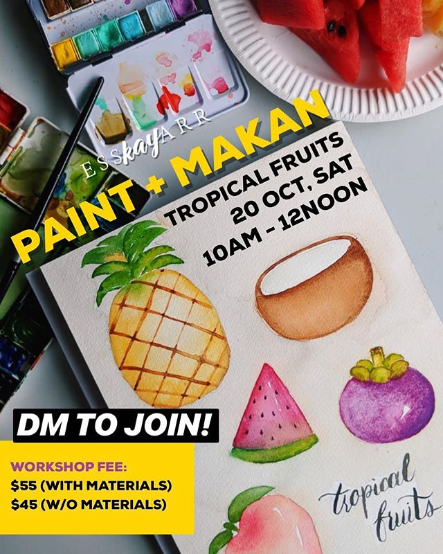 WATERMELON 🍉 (Watch previous post for tutorial) - One of many favourite tropical fruit. 🏝 Here's a short tutorial using Wet-on-Wet paint technique. _ Join is for an Paint & Makan session Season 2 with the Theme Tropical fruits this October.  _ Details: PAINT & MAKAN SEASON 2: TROPICAL FRUITS • 📆: 20 OCT, SAT • ⏰: 10am - 12noon • 📍Esskayarr Studio 52 Bussorah St • 🎟 $55 (incl. watercolour Kit) | $45 (w/o kit) _ DM @esskayarr to register today