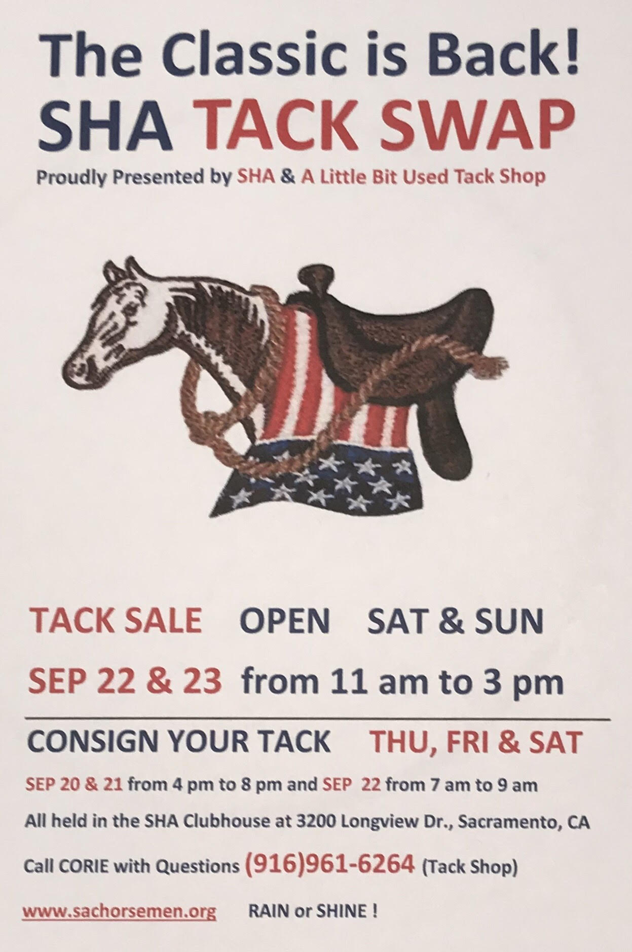 SHA TACK SWAP ! hosted by SHA & A Little Bit Used Tack SHop