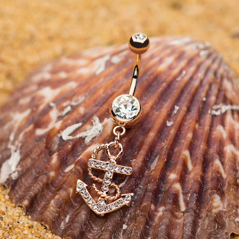 Swarovski Crystal Anchor Dangle Charm Navel Ring