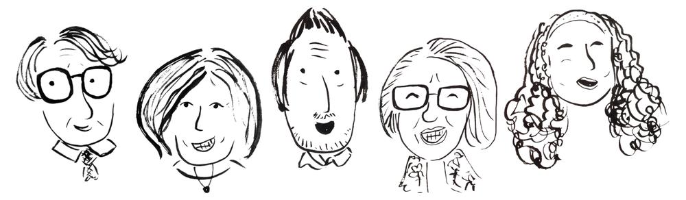 Portraits of Jonathan Kozol, Nancy Carlsson-Paige, Sam Chaltian, Sonia Nieto and Denisha Jones for the Progressive Educators' Network 2017 Conference Programme