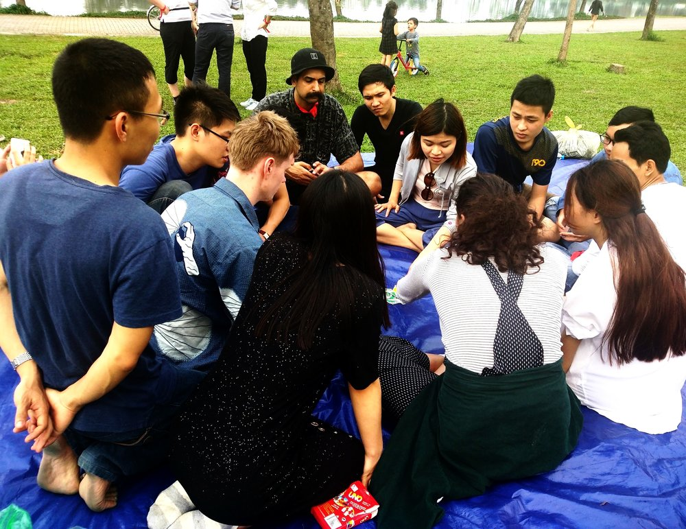 Picnic together with students. -