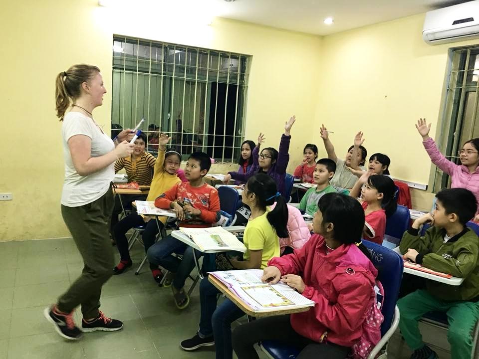 Natasha and her class in Van Phu.