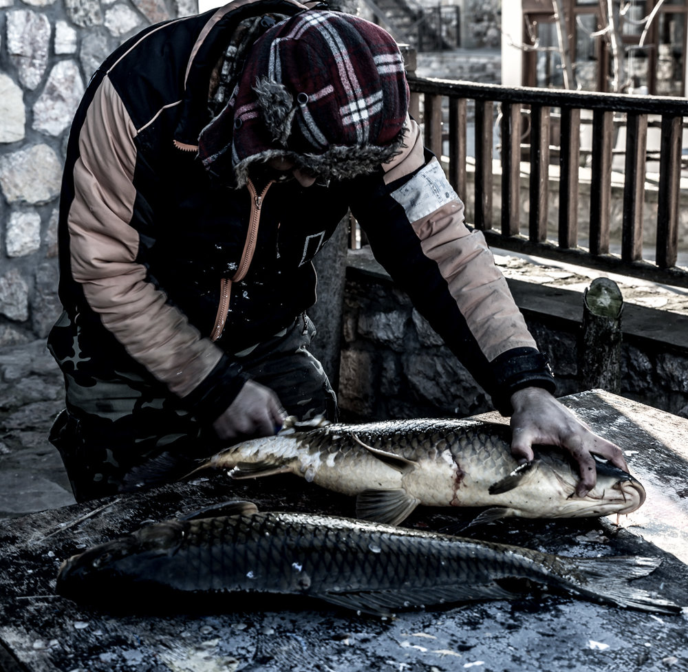 Close-up fisherman Prespa Lakes