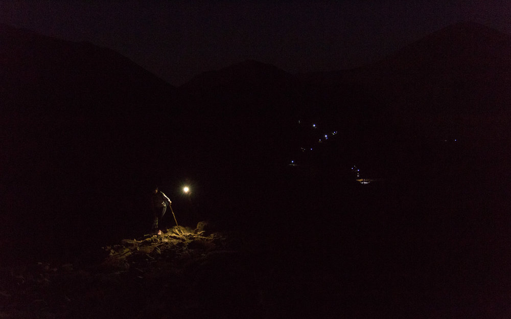 Climbing at 4:00 am (before sunrise).