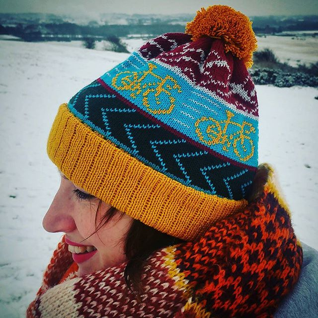 With our flurry of snow yesterday it would be rude not to try out our new Tin Pony bobble hats. Sheila is sporting this mustard wonder. Link in biog. #tinpony #tinponycc #cycling #cyclefansofinstagram #cyclefan #cyclelife #cycleaddicts #cosy #bobblehat #snow