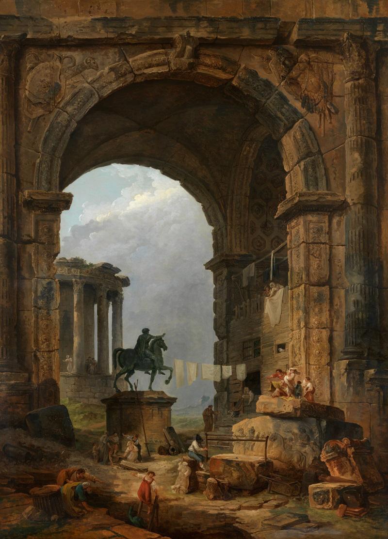 Antique Capriccio with the Statue of Marcus Aurelius Hubert Robert, 1784