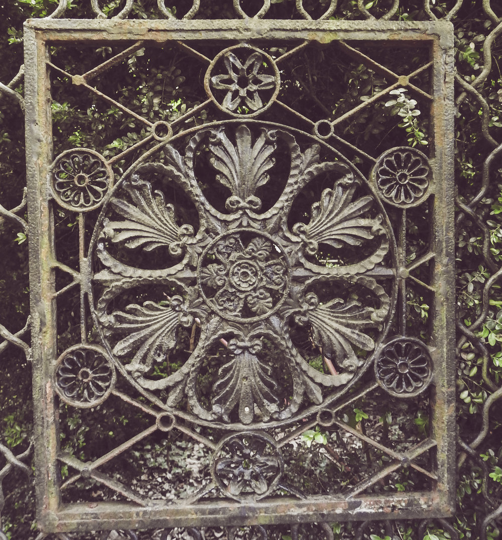 Detail of Iron Gate at Montpelier Mansion, Laurel, Maryland Photo: Rose Anderson, July 2018