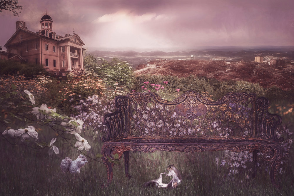 The Ironmaster's Providence, 2018  (Depicting Hampton mansion and an iron bench on the grounds) Archival Pigment Print 24 inches by 36 inches