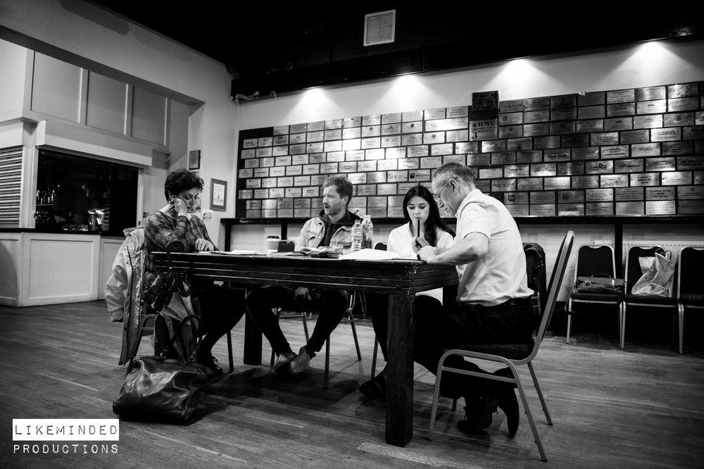 From left to right: Maggi Green (Patricia), Grant Ryan Lenton (Jasper King), Kate Chappell (Iris Langley), Bob Towers (Jeremy)