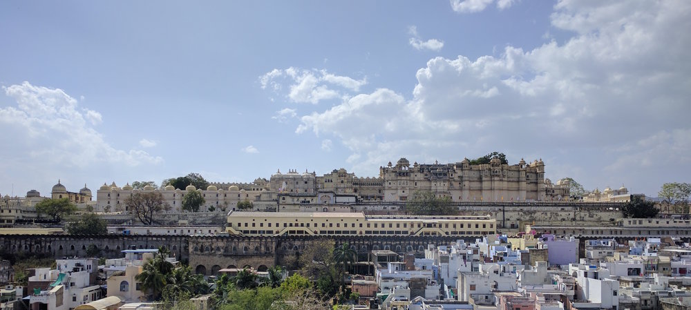 The city palace of this Rajasthani city of Udaipur dominates the interior skyline
