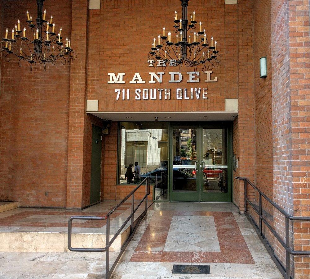 The Mandel entrance on Olive