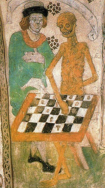 """""""In a wood sat Death, playing chess with the Crusader...But in the other arch the Holy Virgin was walking in a rose-garden, supporting the Child's faltering steps, and her hands were those of a peasant woman."""" -"""