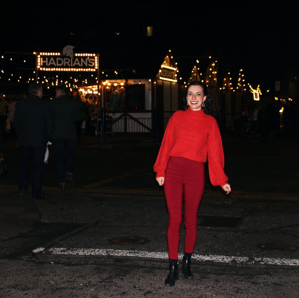 Newcastle Christmas Market Fashion Union Zalando Jumper Asos Red Trousers Rhoyally Chic UK Fashion Blogger