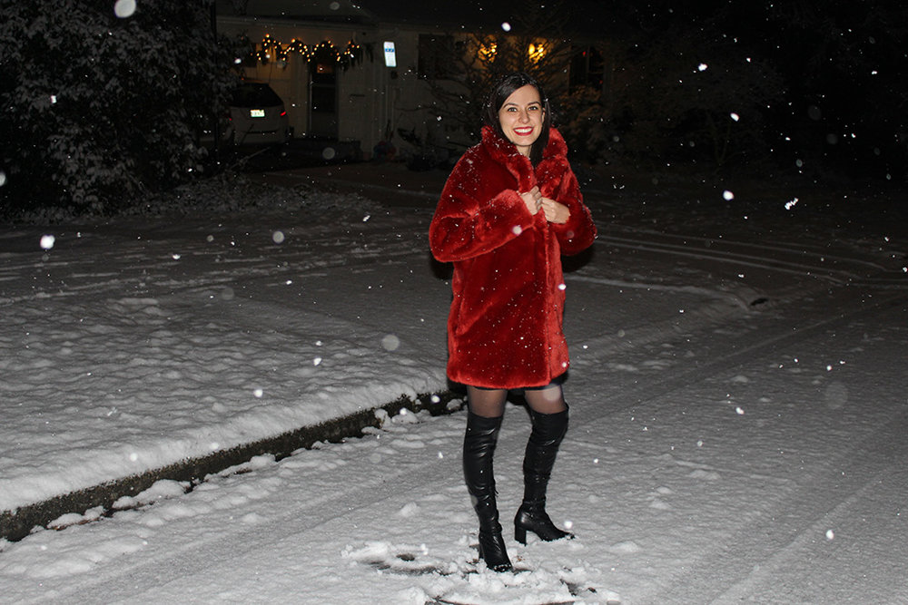 Rhoyally Chic H&M Red Faux Fur Coat