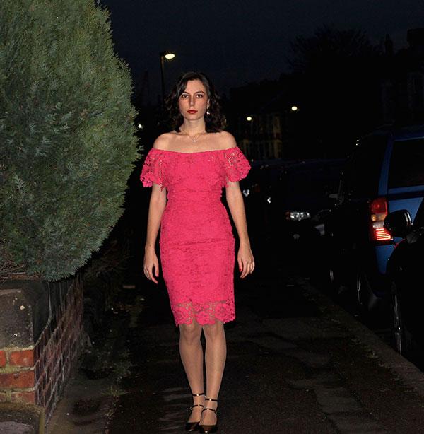 Rhoyally Chic in Asos pink lace bardot dress