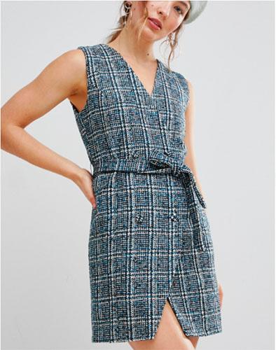Asos Blue check Tweed Wrap Dress