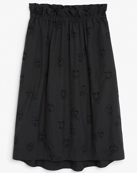Monki Doodle Trend Coord Skirt Black on Black