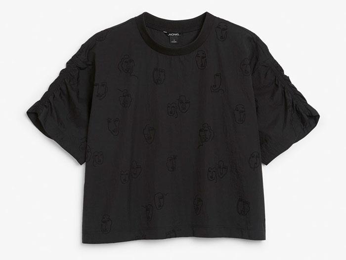 Monki Doodle Trend Coord black on black Shirt